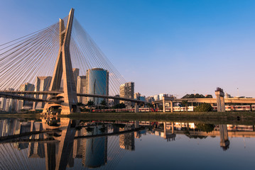 Poster Bridge Octavio Frias de Oliveira Bridge in Sao Paulo is the Landmark of the City