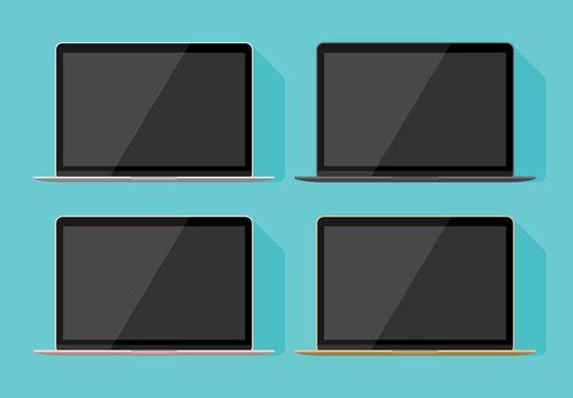 Laptop Flat Vector Mockups