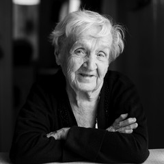 Portrait of an elderly woman. Black-and-white photo.