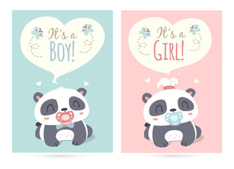 vector cartoon style cute panda it's a boy and girl illustration