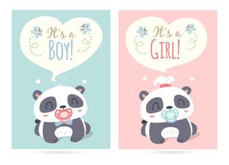 vector cartoon style cute panda it's a boy and girl illustration