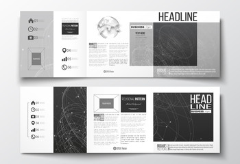 Vector set of tri-fold brochures, square design templates. Molecular construction with connected lines and dots, scientific pattern on black background.