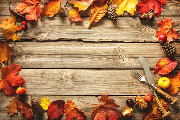Thanksgiving autumn background with the vintage silverware