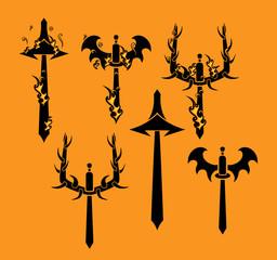 Tribal Swords Vector Silhouette Designs