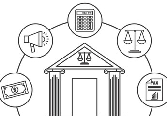 8 Small and 1 Large Black and White Banking and Personal Finance Icons