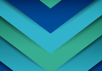 Blue and Teal Tone Single Chevron Pattern with Drop Shadow