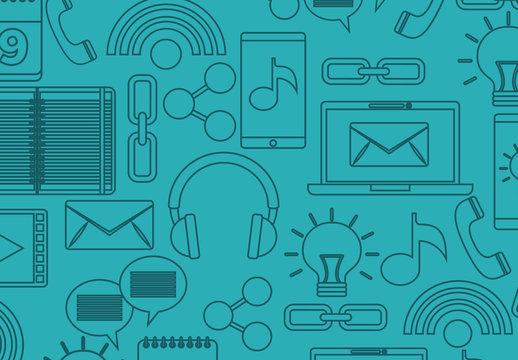 Blue Tone Social Media and Tech Icon Set