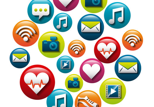 21 Glossy, Bubble Style Social Media and Lifestyle Icons