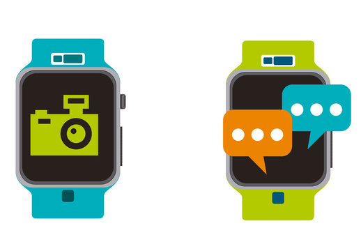 4 Large Color Social Media and Lifestyle Smart Watch Screen Icons