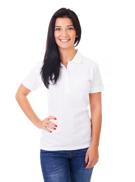 Young woman in white polo shirt