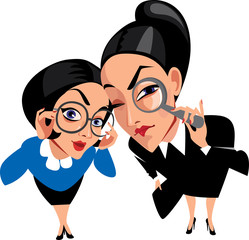 vector funny characters, two spy ladies, women, curious