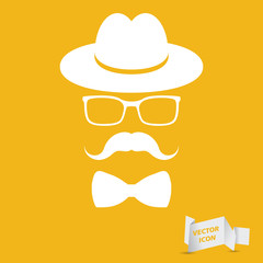 white hat with mustache, bow tie and glasses isolated on the yel