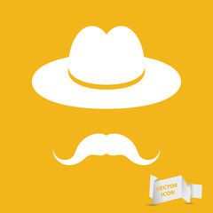 man mustache icon - white hat with mustache isolated on the yell
