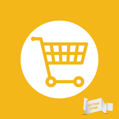 white flat shopping cart icon on a yellow background - vector il