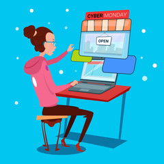 Girl Using Laptop Computer Cyber Monday Big Sale Shopping Flat Vector Illustration
