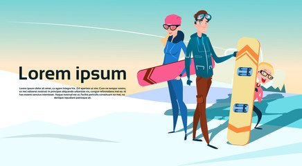 People Group With Snowboard Winter Activity Sport Vacation Snow Mountain Slope Flat Vector Illustration