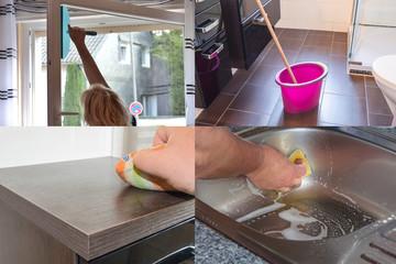 Bild ist in 4 Abschnitte aufgeteilt zum Thema Hausarbeit