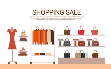 Fashion Shop Interior Big Holiday Sale Shopping Flat Vector Illustration