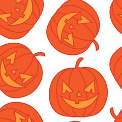 Hand drawn seamless pattern with halloween pumpkins