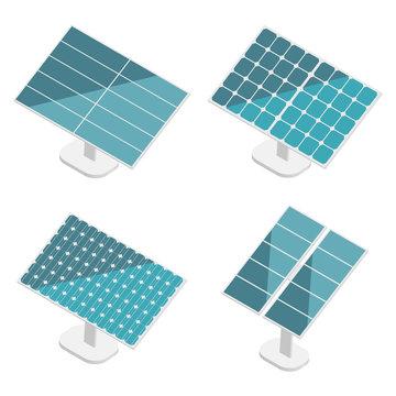 Blue Solar Panels set. Flat isometric. Modern Alternative Eco Green Energy. Vector illustration.