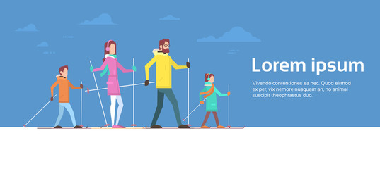Big Family Skiing Winter Holiday Vacation Snow Sport Flat Vector Illustration