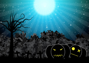 Spooky pumpkin halloween background vector illustration