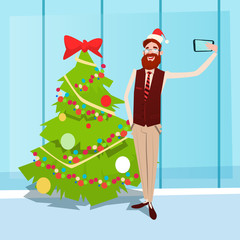 Man Taking Selfie Photo On Smart Phone Over Christmas Decorated Tree New Year Celebration Flat Vector Illustration