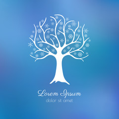 Elegant winter tree with snowflakes instead of leaves. Seasonal design template over a blurred background, eps10.