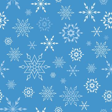 Seamless vector pattern with elegant snowflakes. Seasonal winter design, eps10.