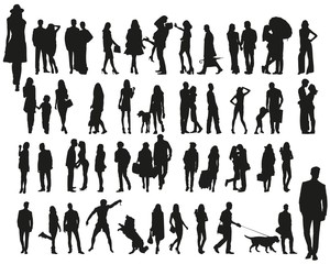 Collection of human silhouettes on a white background
