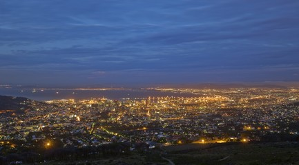 View Of Cape Town At Night From Table Mountain, South Africa, Africa