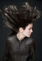 Woman With Wind Blown Hair