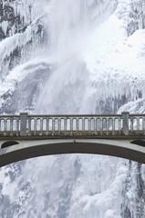 Bridge Over Icy Water, Multnomah Falls, Oregon, Usa