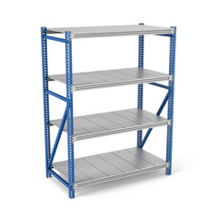 Rendering of metal rack with four shelves, isolated on a white background