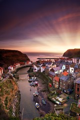 Cityscape At Sunset, Staithes, Yorkshire, England