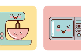 4 Cute Pastel Kitchen Appliances with Facial Expressions Icons