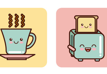 4 Cute Pastel Kitchen Items with Facial Expressions Icons