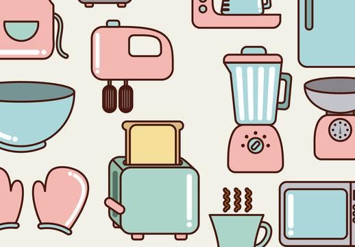 17 Cute Pastel Kitchen Item Icons