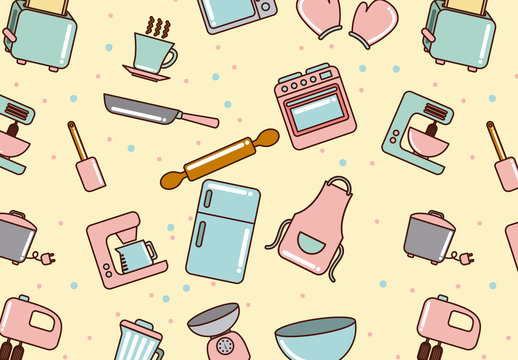 Off-Center Cute Pastel Kitchen Appliances Pattern