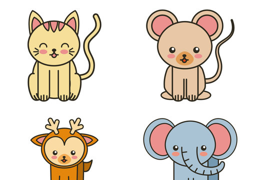 12 Cute Flat Wild Animal Icons