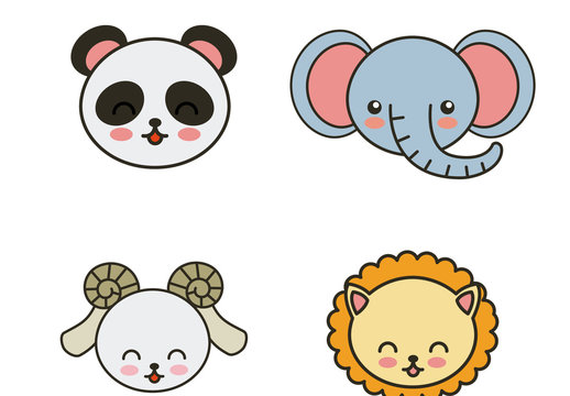 9 Cute Flat Wild Animal Face Icons