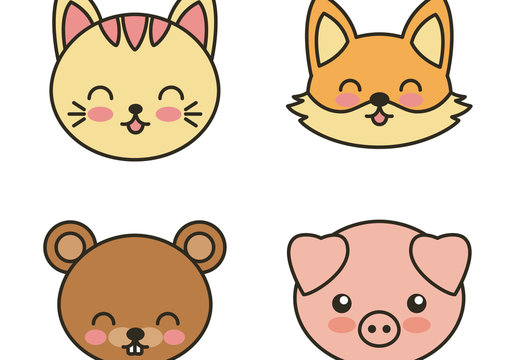 6 Large Cute Flat Wild Animal Face Icons