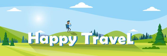 Traveler Man Hiking Over Mountain Background Outdoor Trekking Tourism Banner Vector Illustration
