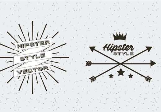 4 Black and White Retro Icons