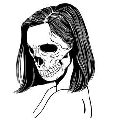 татуировка смерть череп скелет девушки