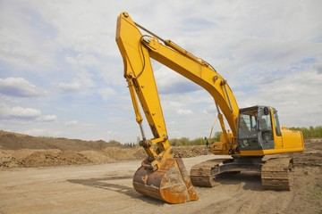 Heavy Equipment In A Construction Site; St. Albert, Alberta, Canada