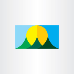 rising sun mountains landscape vector flat icon