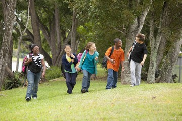 Fort Lauderdale, Florida, United States Of America; A Group Of Preteen Students Walking Together