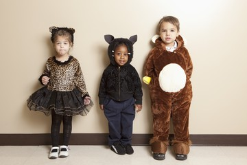 Fort Lauderdale, Florida, United States Of America; Three Young Children Dressed Up In Halloween Costumes
