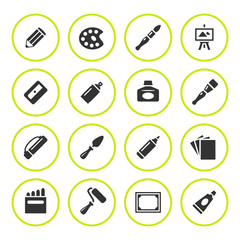 Set round icons of art